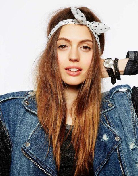 головные уборы на лето для женщин: ретро-повязки белая в черный горошек