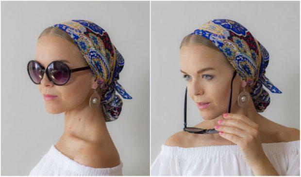 головные уборы на лето для женщин: платки синий в принт