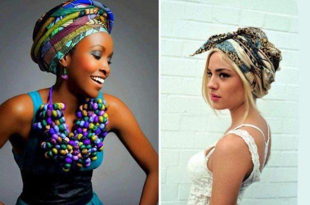 головные уборы на лето для женщин: платки яркие