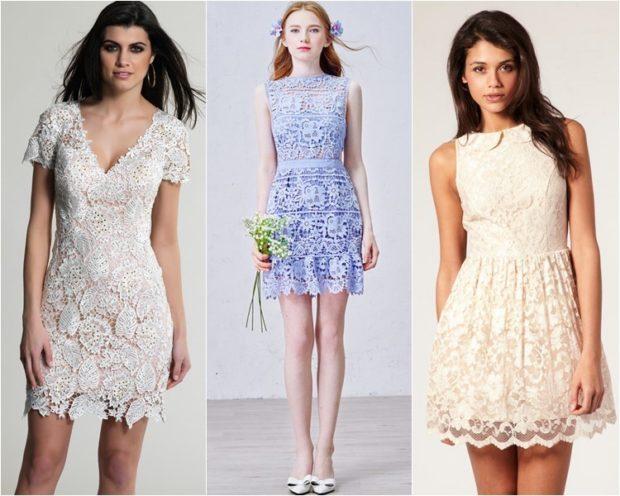 Модные образы весна 2018 на каждый день: платье с кружевом, белое голубое ,кремовое