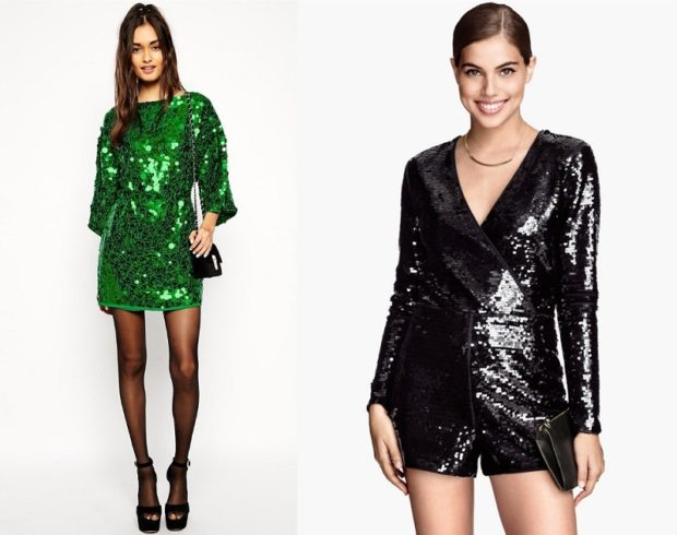 Модные образы весна 2018 на каждый день: платье с пайетками,зеленое,черное