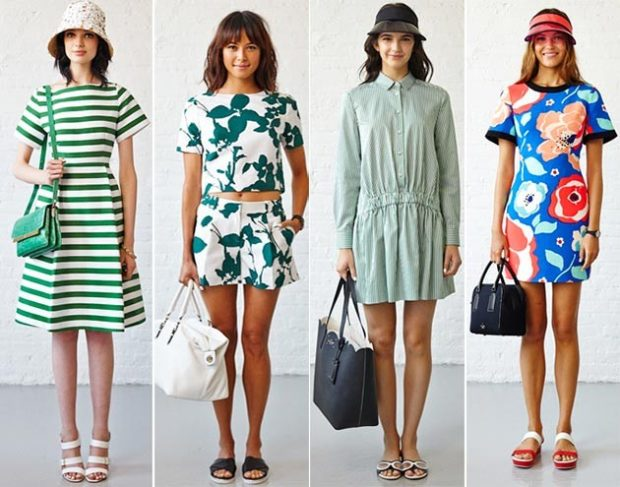 Модные образы лето 2020: платье с весенним принтом белое голубое