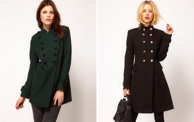 женские образы весна 2020: пальто зеленое и черное