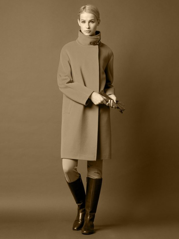 женские образы весна 2020: пальто со стоячим воротником