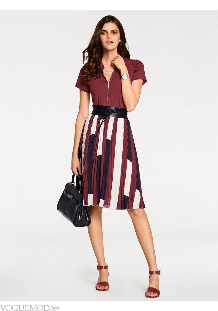 модные образы весна 2019: коричневое платье
