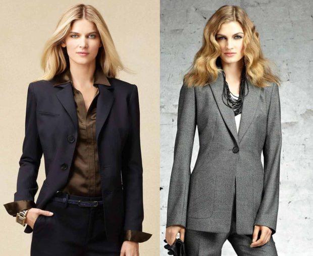 образы весна 2020 девушки: пиджак черный и серый