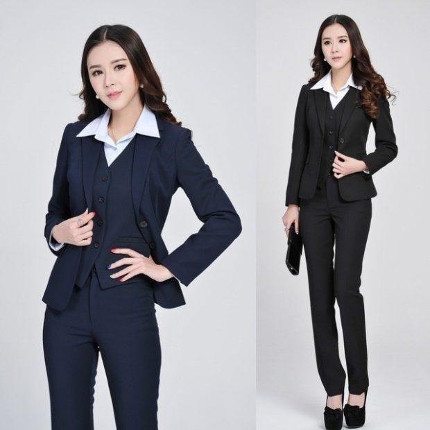 образы весна 2020 девушки: пиджак черный и синий