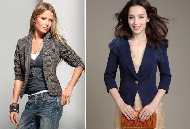 образы весна 2020 девушки: жакет синий и серый