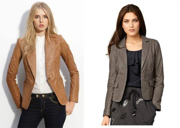 образы весна 2020 девушки: кожаный пиджак коричневый и серый