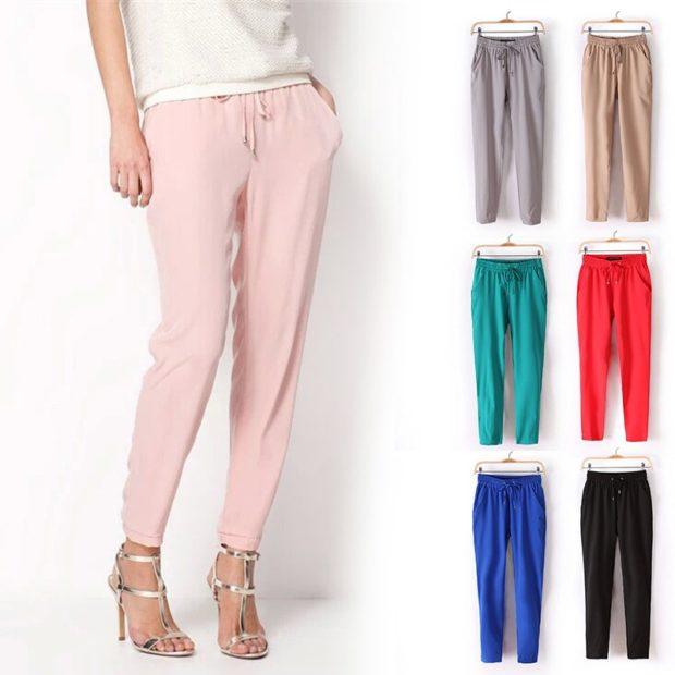 Модные образы весна 2020 на каждый день:цветные брюки розовые красные синие зеленые