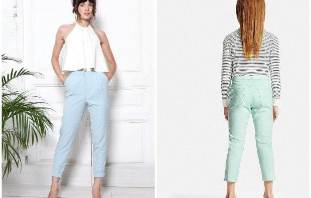 Модные образы весна 2018 на каждый день: яркие брюки,голубые