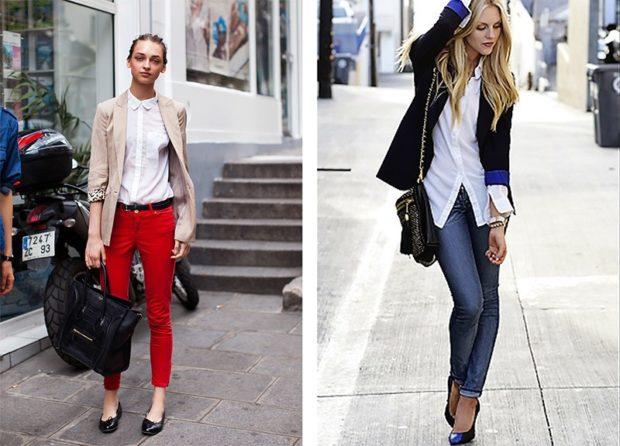 Модные образы весна 2018 на каждый день: образы с блузками и жакетом