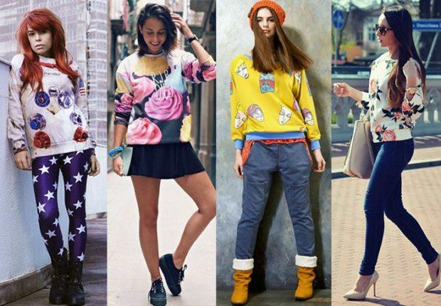 Модные образы весна 2018 на каждый день: свитшот с джинсами,юбкой, леггинсами ,брюками