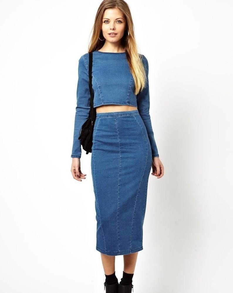 Модные образы весна 2019 на каждый день: джинсовая юбка и кофта
