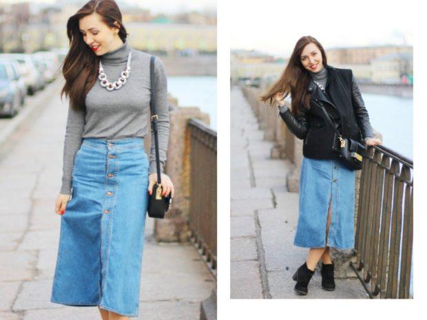 Модные образы весна 2018 на каждый день: джинсовая юбка