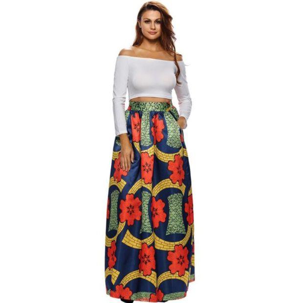 юбка с принтом абстракции