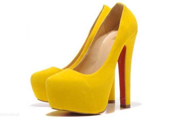 Модные туфли 2018-2019 фото: желтые на толстом каблуке