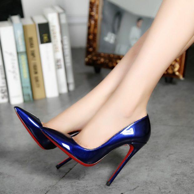 Модные туфли 2018-2019 фото: синие с красным лодочки