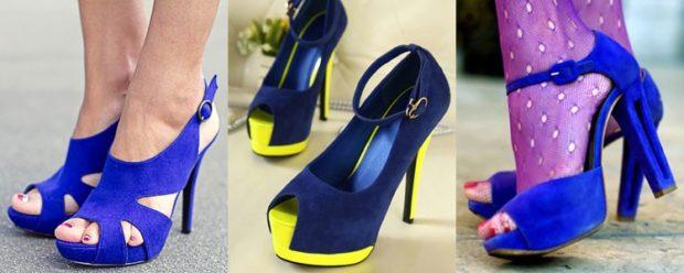 Модные туфли 2018-2019 фото: синие на каблуке