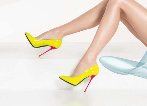 Модные туфли 2018-2019 фото: желтые лодочки на розовой шпильке
