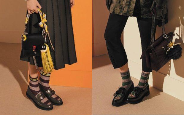Модные туфли 2018-2019 фото: зеленые черные низкий ход круглый носок