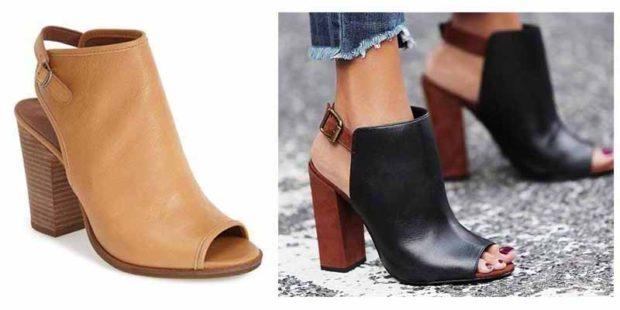 Модные туфли 2018-2019 фото: открытый носок толстый каблук бежевые черные