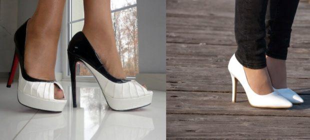 Модные туфли 2018-2019 фото: черно-белые высокий каблук белые лодочки на шпильке
