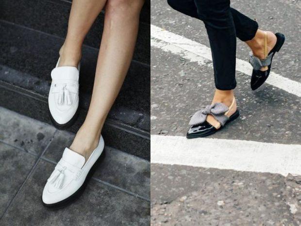 Модные туфли 2018-2019 фото: лоферы белые черные с бантом низкий ход
