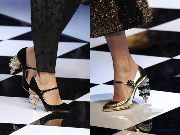 Модные туфли 2018-2019 фото: оригинальный каблук черные золотые