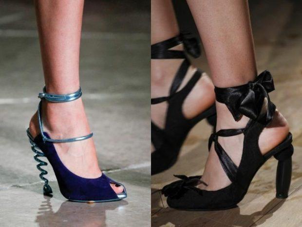 Модные туфли 2018-2019 фото: оригинальный каблук синие черные с лентами