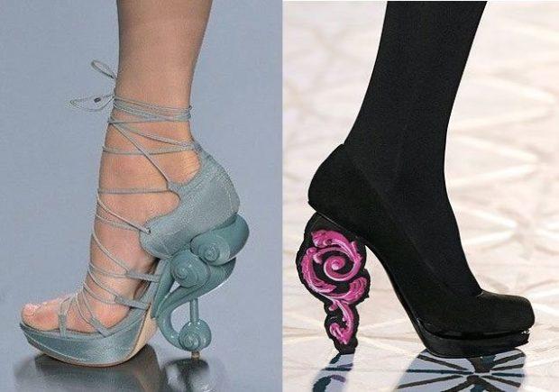 Модные туфли 2018-2019 фото: оригинальный каблук синие черные