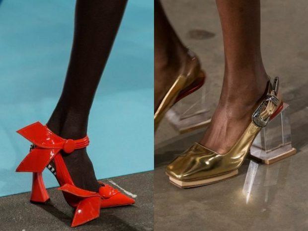 Модные туфли 2018-2019 фото: оригинальный каблук красные золотые