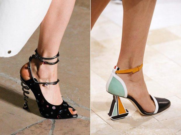 Модные туфли 2018-2019 фото: оригинальный каблук черные пружина цветные