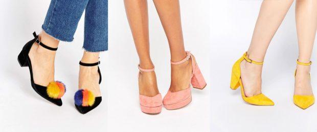 Модные туфли 2018-2019 фото: на застежках черные розовые желтые