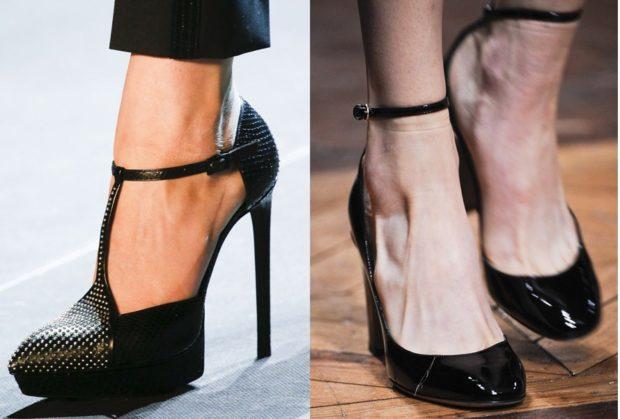 Модные туфли 2018-2019 фото: на каблуке черные с застежками
