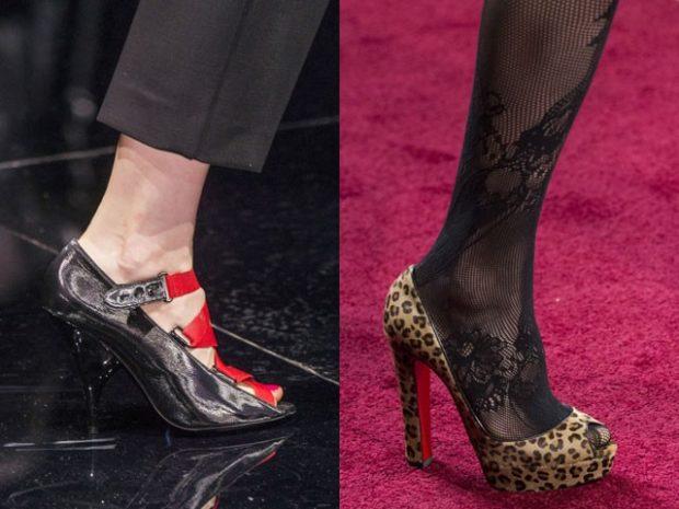Модные туфли 2018-2019 фото черные с красным на каблуке леопардовые толстый каблук