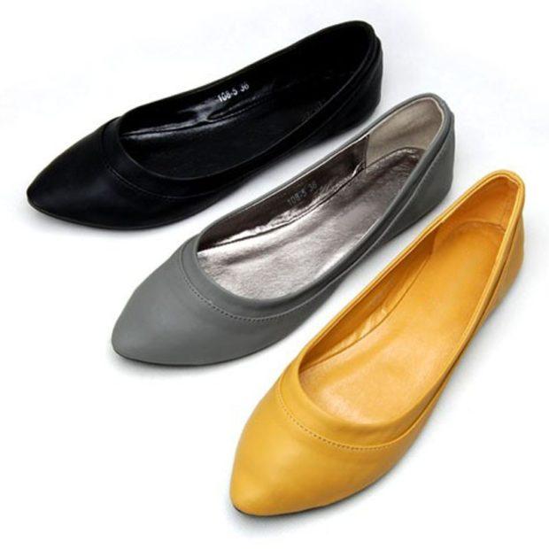Модные туфли 2018-2019 фото: балетки черные серые желтые