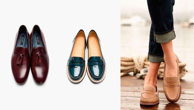 Модные туфли 2018-2019 фото: лоферы красные синие бежевые
