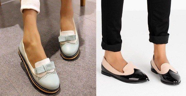 Модные туфли 2018-2019 фото: лоферы голубые с белым черные с бежевым