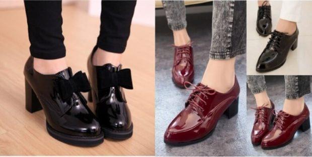 Модные туфли 2018-2019 фото: черные красные с бантом на шнурке низкий толстый каблуке