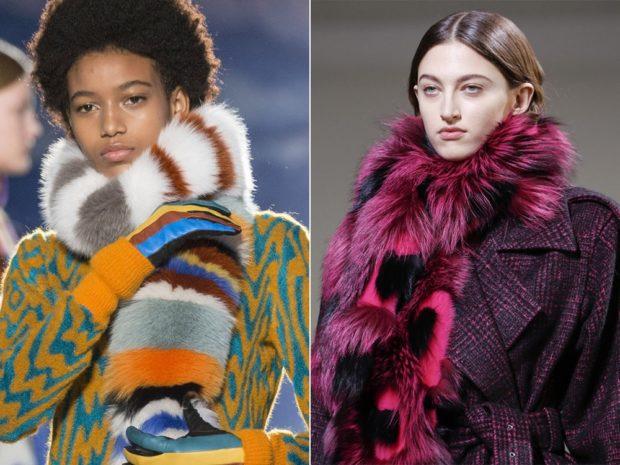 модный шарф 2018 2019: меховой шарф бордовый полосатый