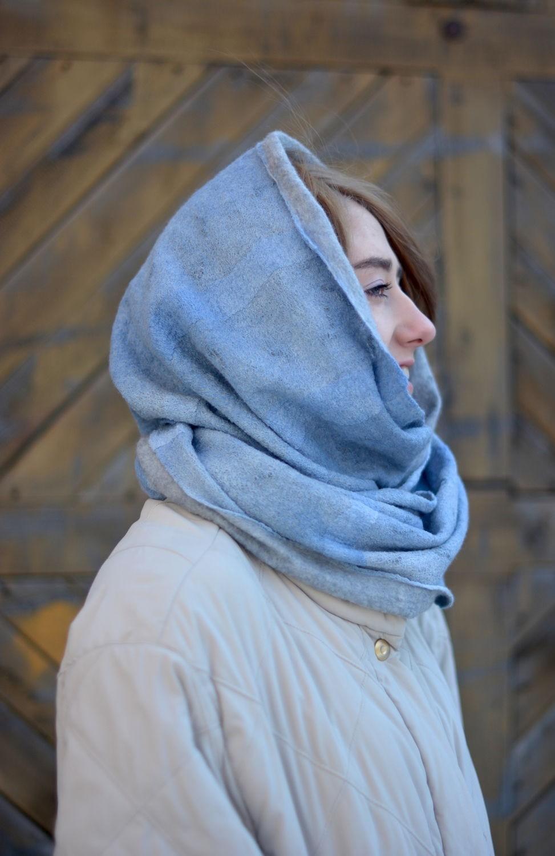 модный шарф 2018 2019: серо-голубой шарф косынка