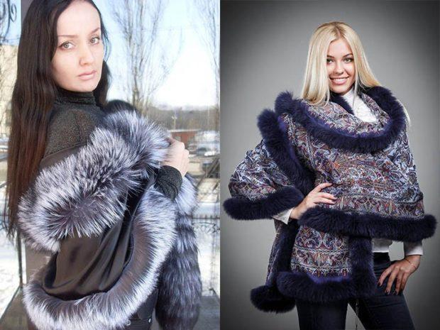 Модный шарф 2018 2019: с меховой каемкой