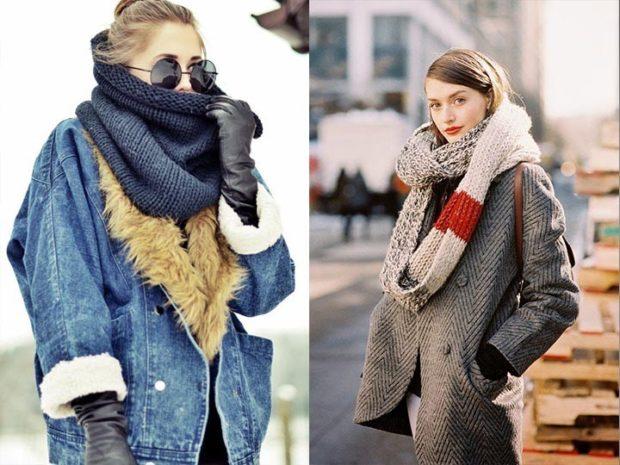 модный шарф 2018 2019: вязанный черный светлый с полосками