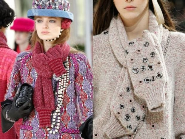 модный шарф 2018 2019: вязанные шарфы -рукава