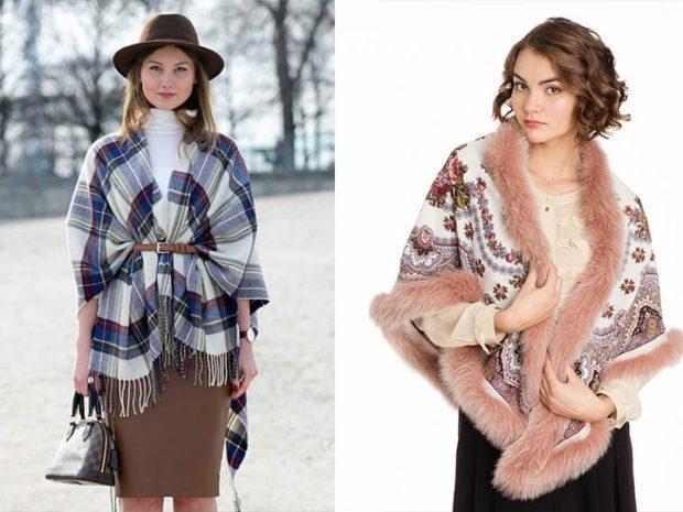 Модный шарф 2018 2019: палантин в клетку шарф цветной с мехом
