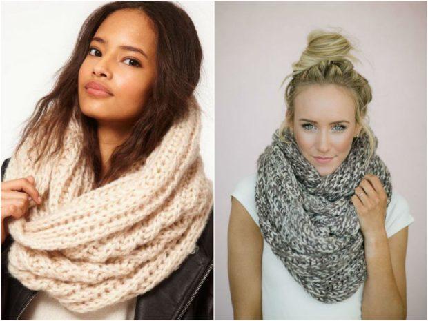 Модный шарф 2018 2019: вязаный хомут розовый серый