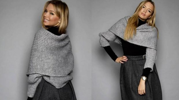 модный шарф 2018 2019: шарф рукава серый