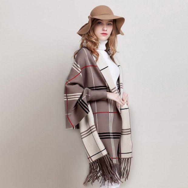 модный шарф 2018 2019: шарф рукава в клетку