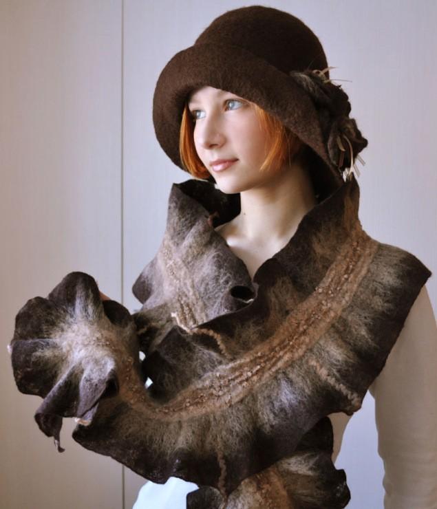 модный шарф 2018 2019: шарф фигурный коричневый